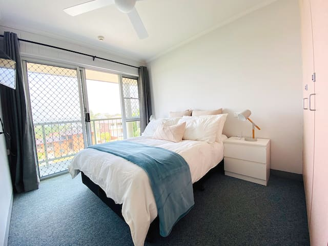 The 3rd bedroom with a double bed plus balcony and again awesome north views!