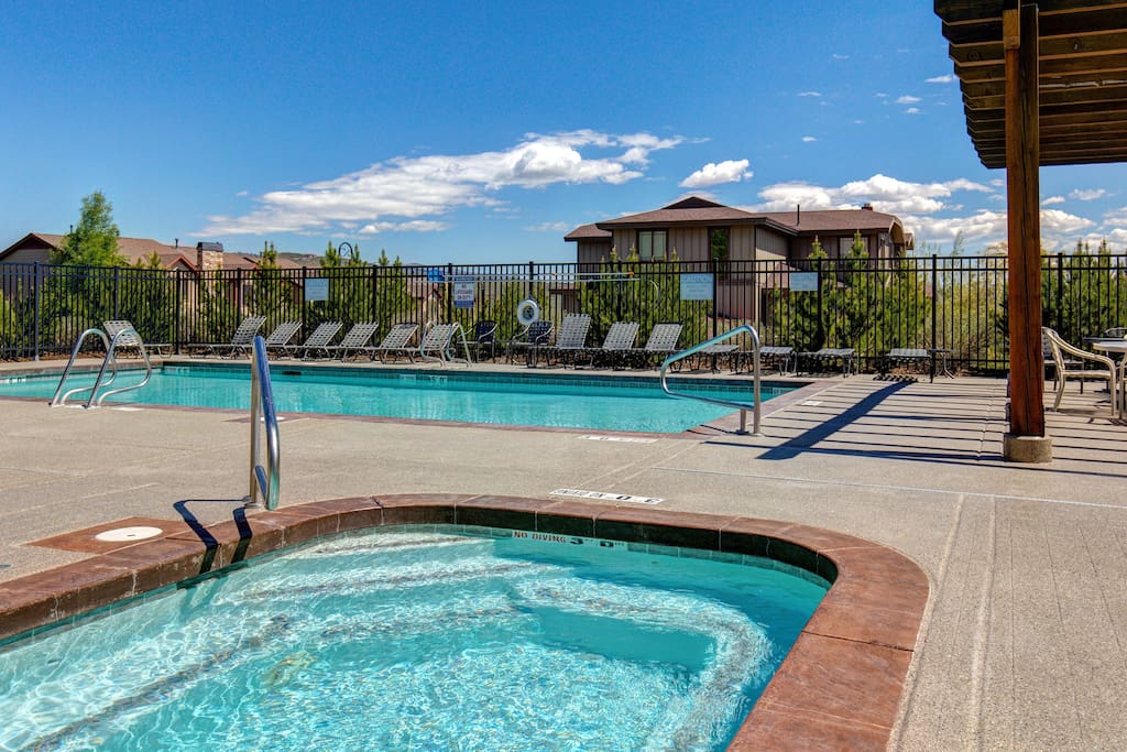 Relax by the pool and hot tub