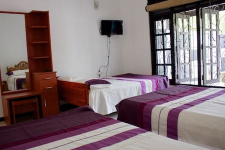 Room with 3 double beds + bathroom - Casa