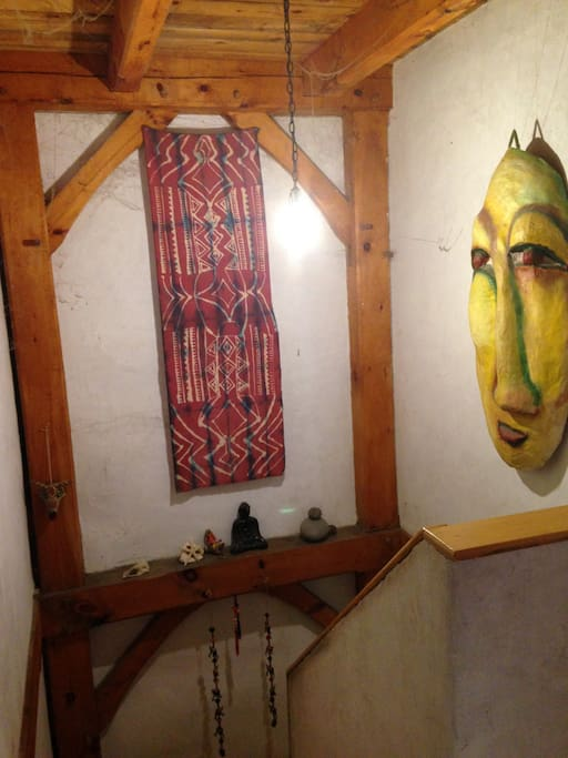 Stairwell with art