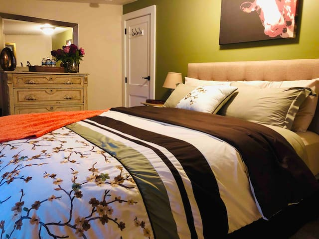 Beautiful new bed linens, all layered up, capable of handling those hot summer nights or chilly winter ones.