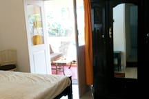 Bedroom with an antique cupboard
