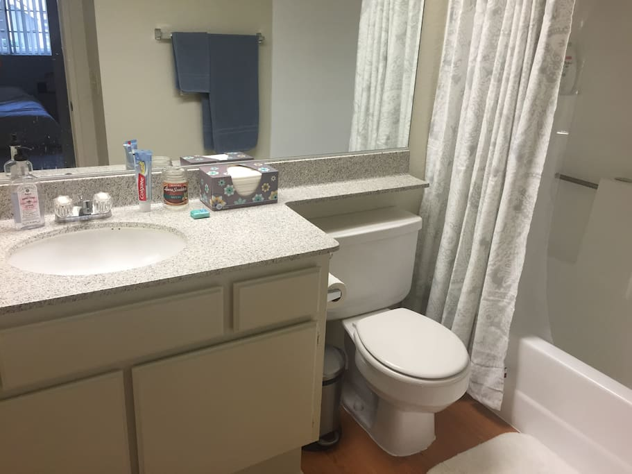 Clean, private bathroom connected to your room!
