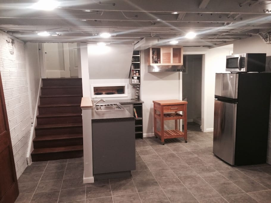 Freshly remodeled basement apartment - fresh industrial personality complete with IKEA efficiency kitchen :)