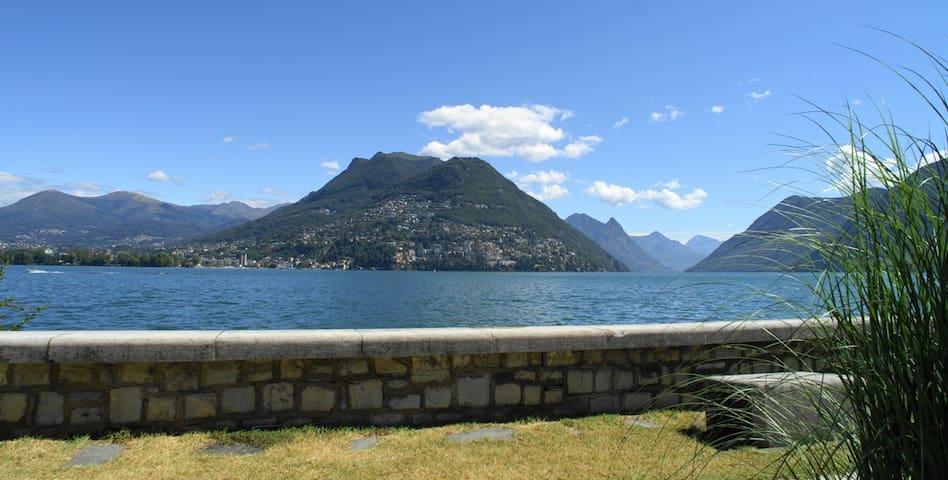 Sicht zum Monte Brè vom Badeplatz
