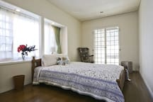 The guest room with one double bed