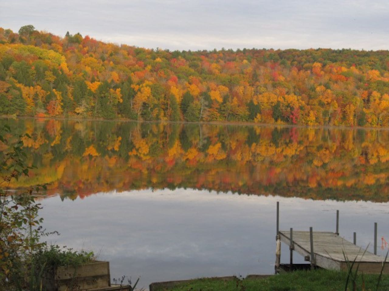 Lake view in the fall from the guest dock