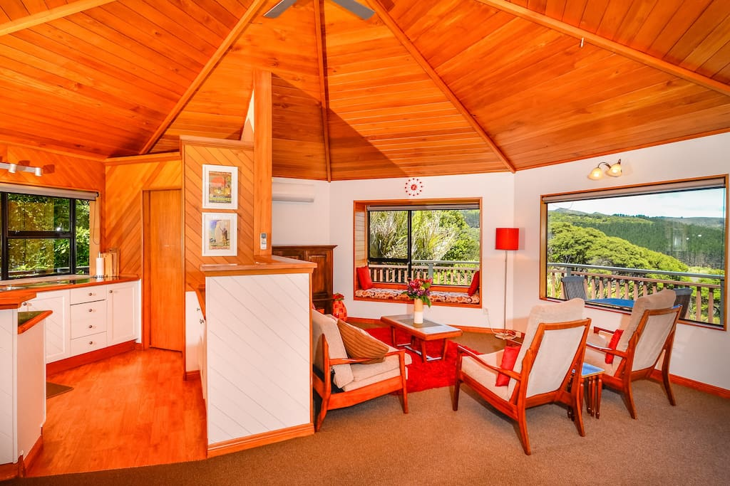 Double octagon design with fantastic native Rimu ceilings