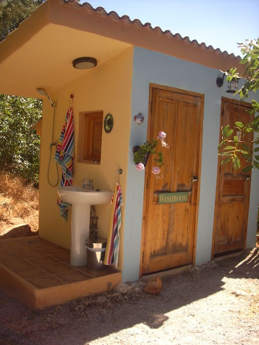 Private indoor shower and toilet, and outdoor shower