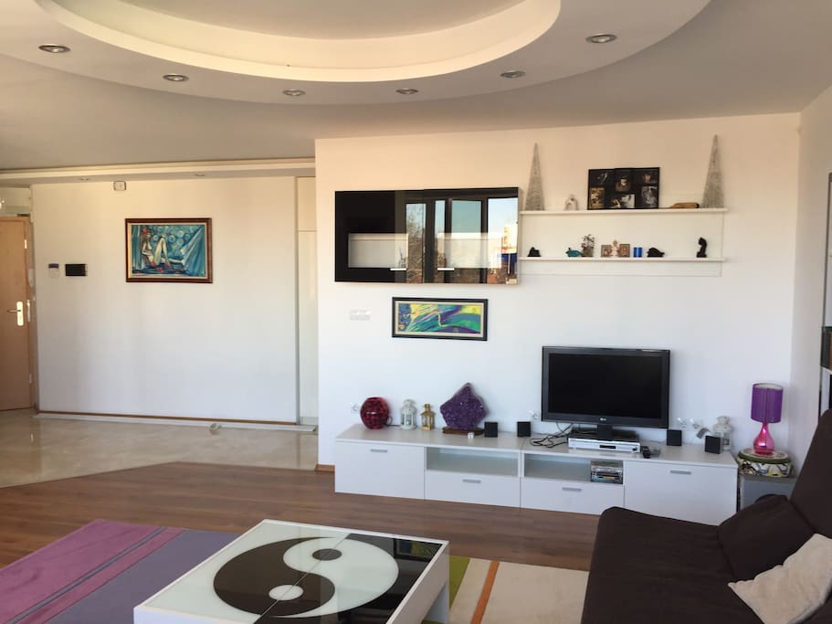 spacious living room with flat-screen TVs, DVDs, decorations, bookshelf