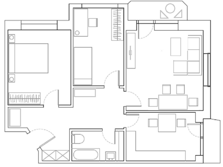 Here you have our flat plan. Your room will be the one next to the livingroom. ^ ^