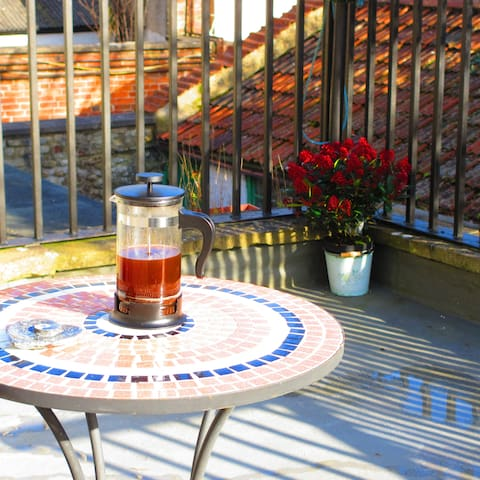 Enjoy your morning coffee out on the roof terrace