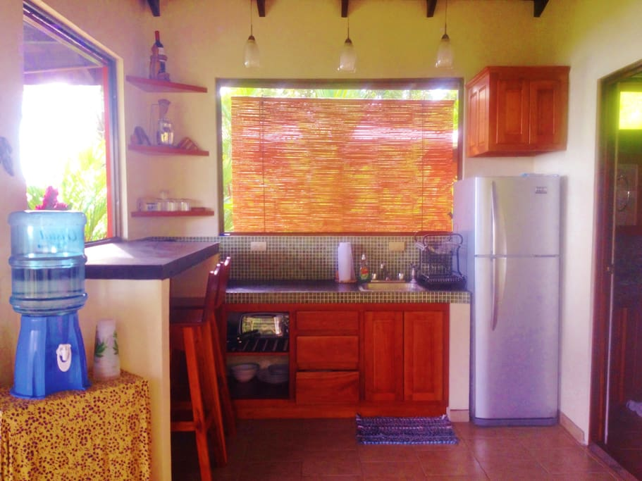 Kitchen area with 2 burner gas cooktop, toaster, full fridge and Costa Rican Coffee Maker!