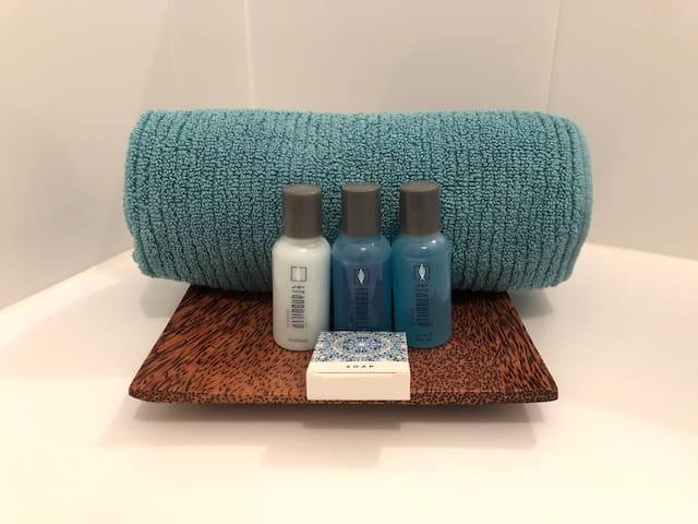 Complimentary bathroom amenities on arrival