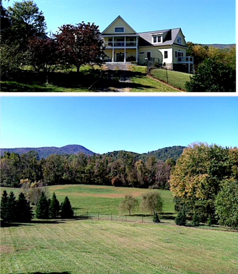 Welcome to Hall's Orchard and House. View looks at Skyline Drive, Shenandoah National Park