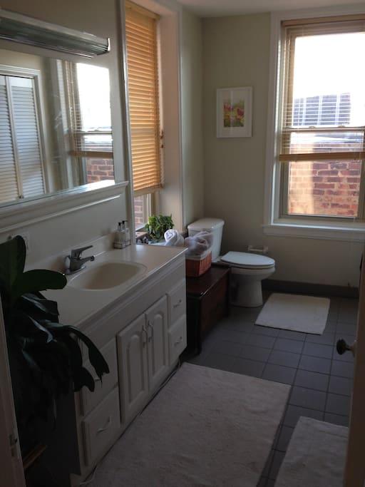 Main Bathroom, shower/bath and Washer/Dryer