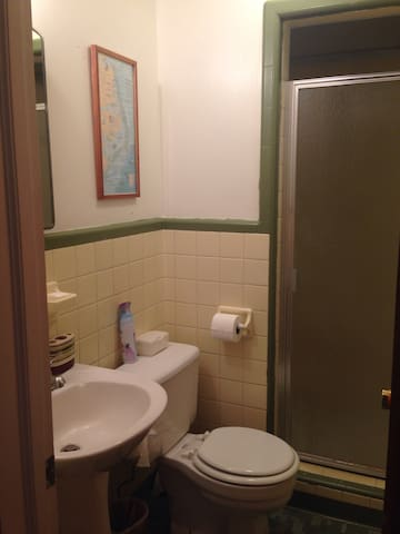 Bathroom with shower, shared between guests.