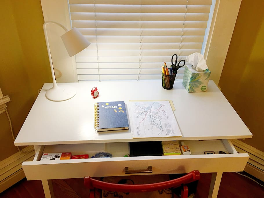 desk with office supplies