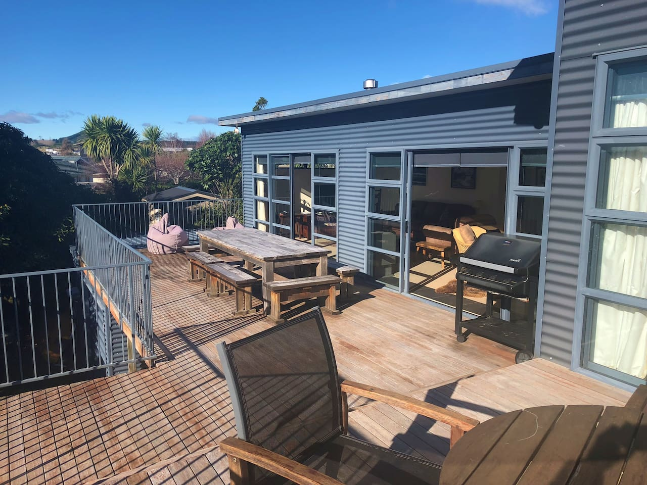 Large sun-drenched entertainers deck