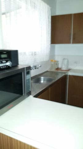 Tea and coffee facilities, microwave, sink , CDplayer/radio
