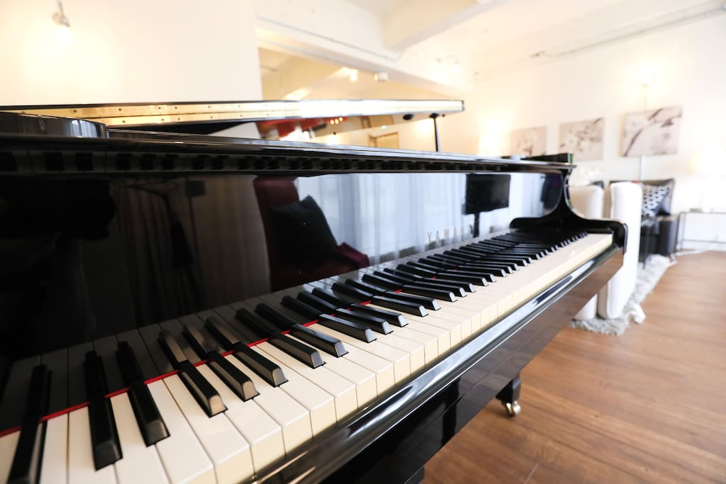 This house has a piano in the living room!