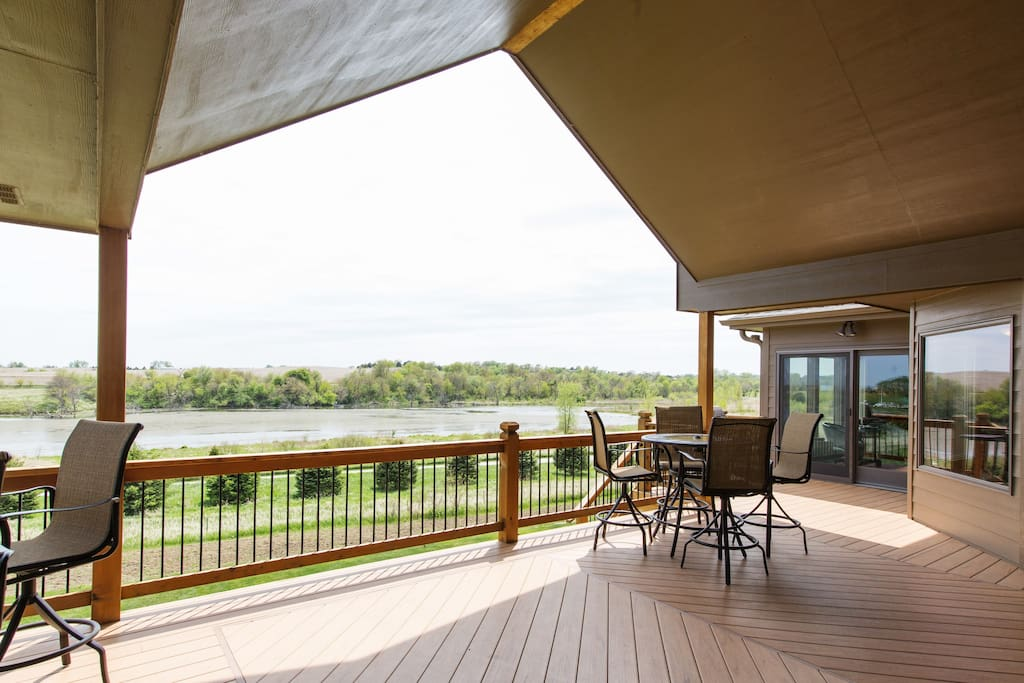 Spacious deck overlooking the lake.