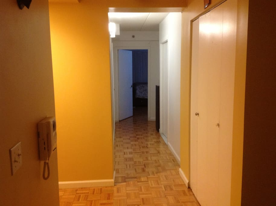 Hallway to the Room and Bathroom