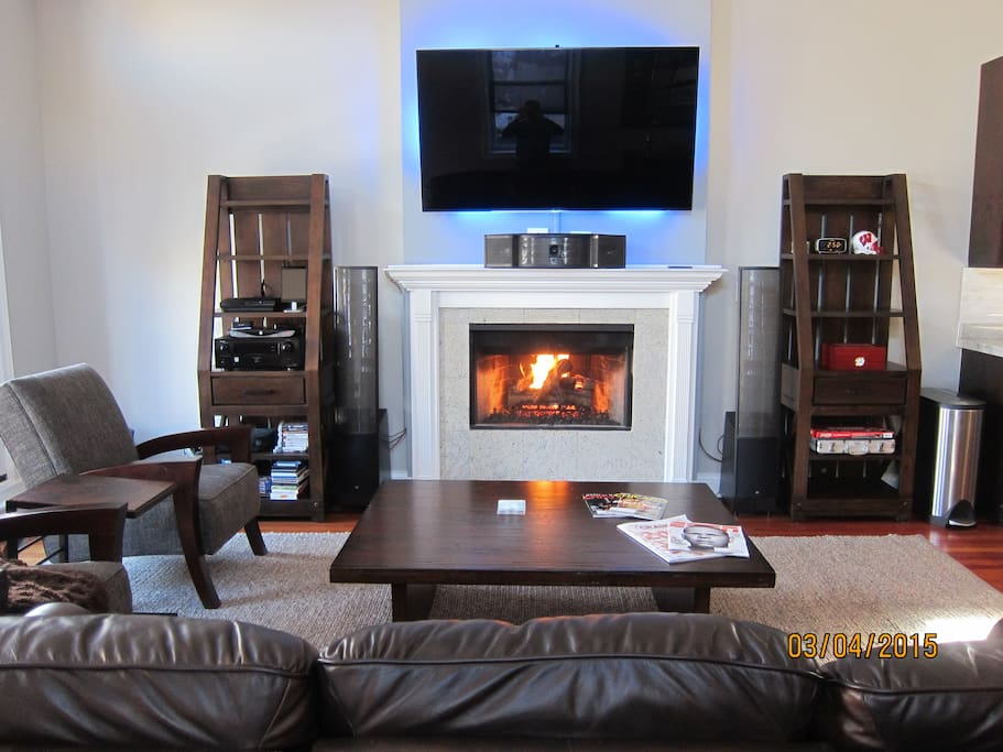 Gas fireplace! 65in TV and 7 speaker surround sound. Great for movies and sports!