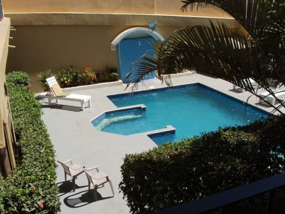 View of the pool from your private balcony