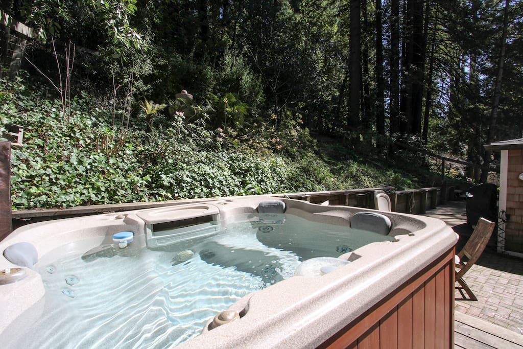 Take a soak under the redwoods!