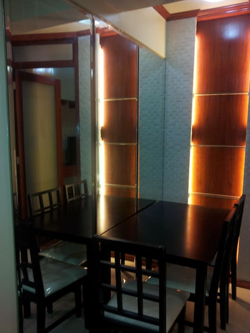 romantically lighted dining area