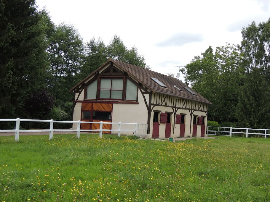 Vue de l'herbage des chevaux