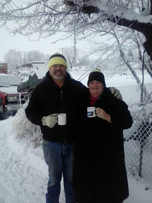 Your Hosts, B.J. and Cheril enjoying a Cup of Coffee.