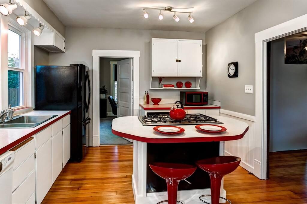 Kitchen looking into bedroom