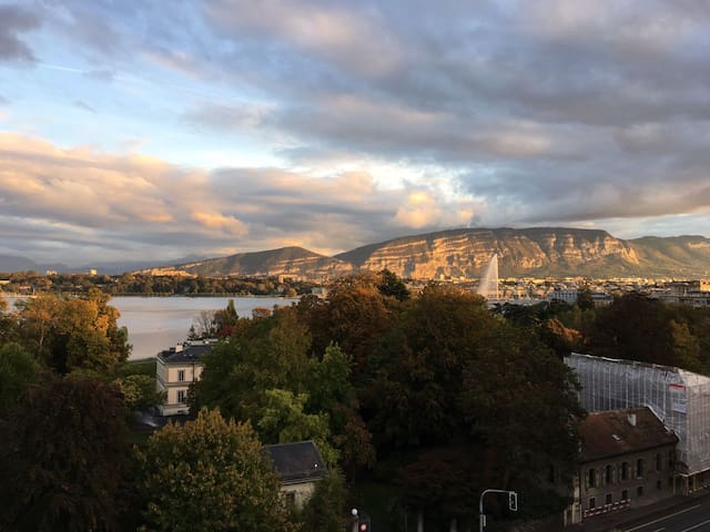 Apartment close to UN, terrace and great lake view - Genève - Pis