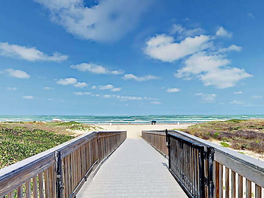 A boardwalk from the condo offers direct beach access.