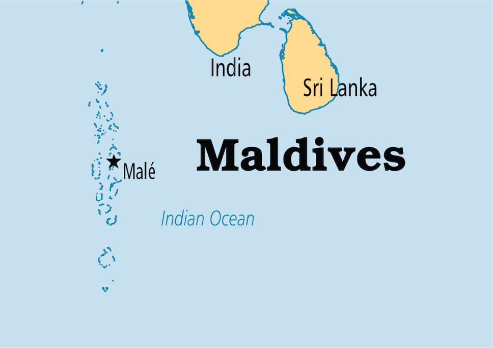 The Maldives is a tropical nation in the Indian Ocean composed of 26 ring-shaped atolls, which are made up of more than 1,000 coral islands. It's known for its beaches, blue lagoons and extensive reefs. The capital, Malé, has a busy fish market, restaurants and shops on the main road, Majeedhee Magu, and 17th-century Hukuru Miskiy (also known as Friday Mosque) made of carved white coral.