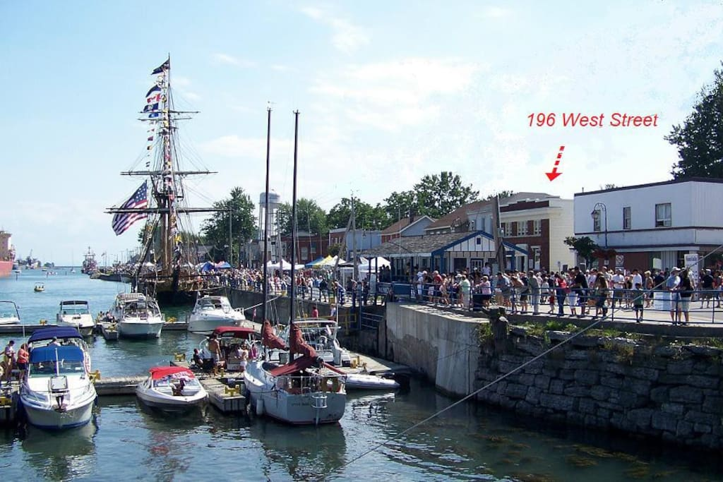 Tall ships docked in front of your apartment during the Canal Days Marine Heritage Festival, an annual event in July.