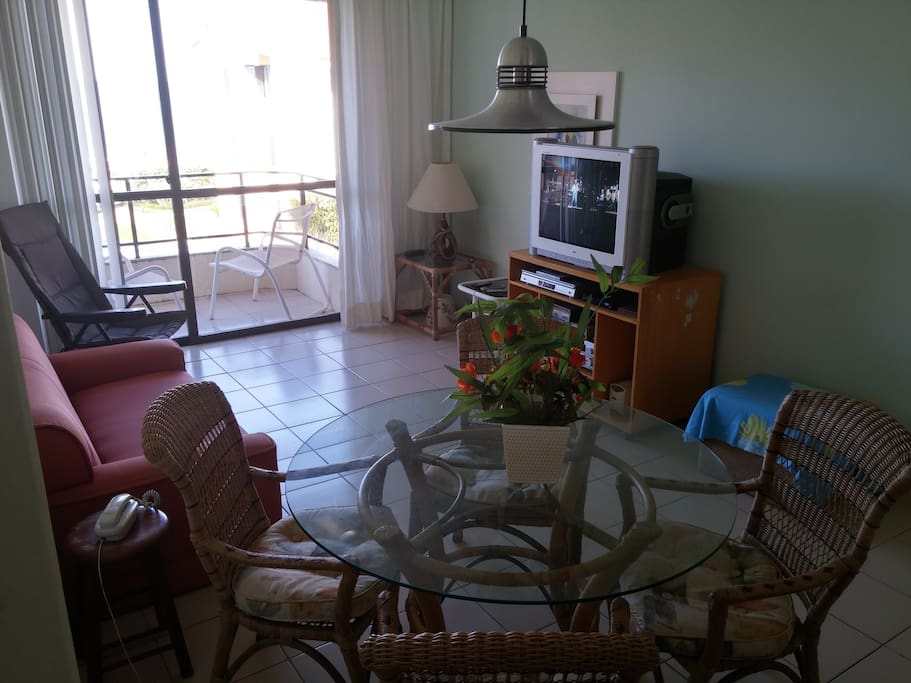living room, dining table and tv set. Cable and dvd included (bring your kid's dvds in case there is rain). Don't waiste your time here, go to the beach!