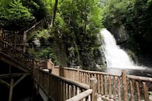 Bushkill Falls in the Pocono Mountains includes Eight Waterfalls, Streams, Waterways and More Than Two Miles of Hiking Trails, Bridges and Walkways.