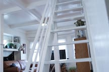 Loft is up these stairs - largest room in the house