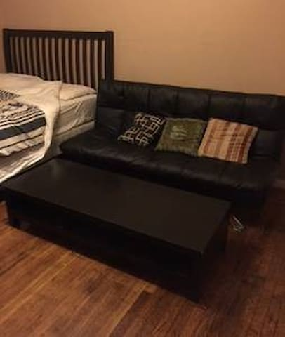 Queen size bed and full size futon couch