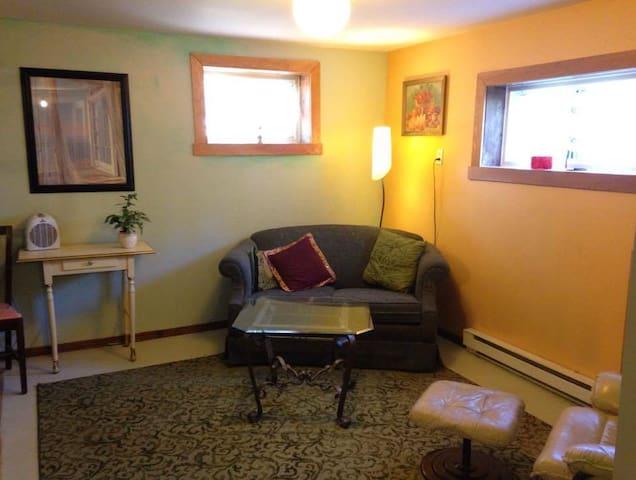 Spacious basement bedroom in unique home.