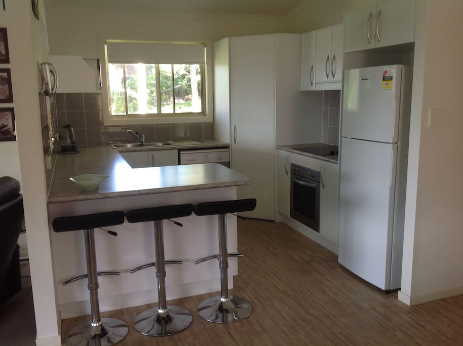 Large kitchen with microwave, stove, hotplate and fridge