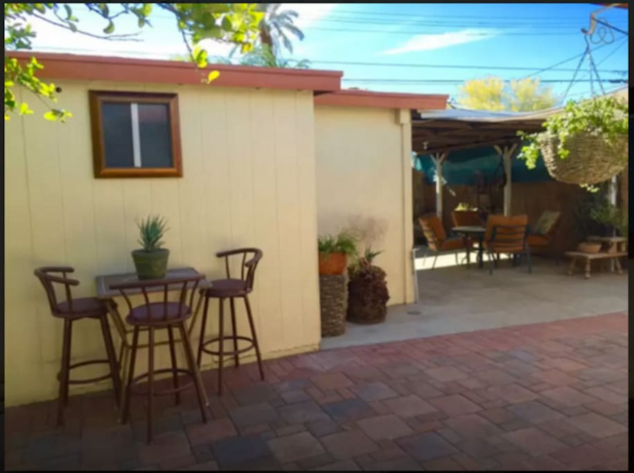 Lemon tree and private patio for you to enjoy the great weather!