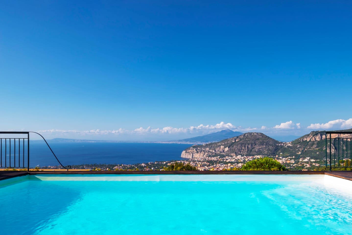 Views from the pool. Gulf of Naples, Vesuvius and Sorrento