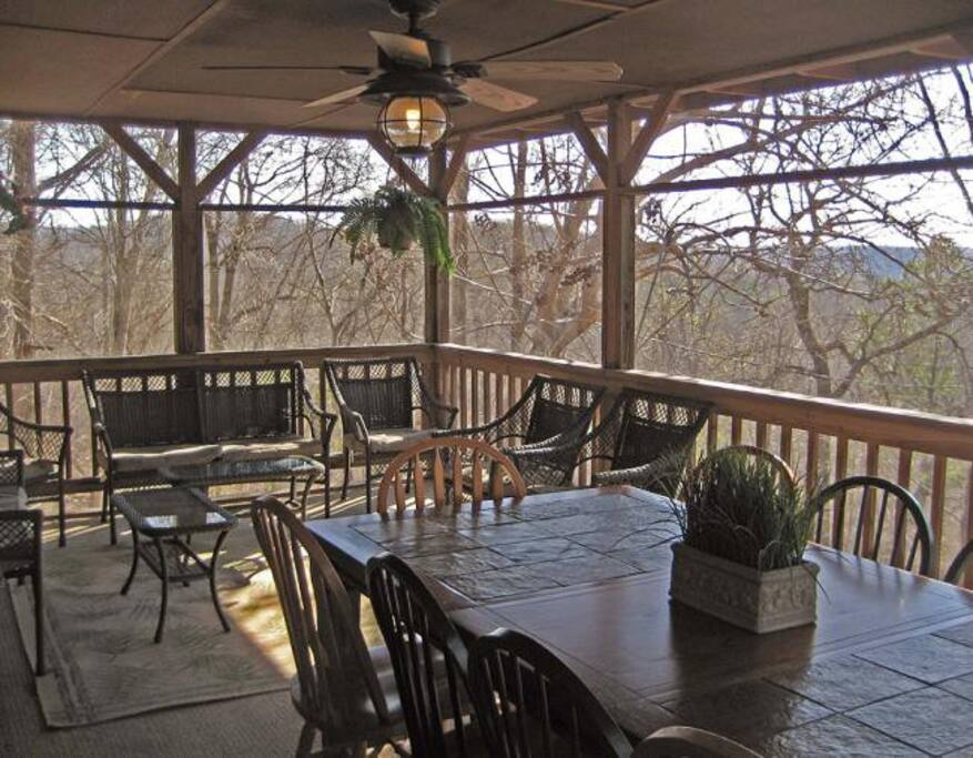 Screened in Porch overlooking valley (winter)
