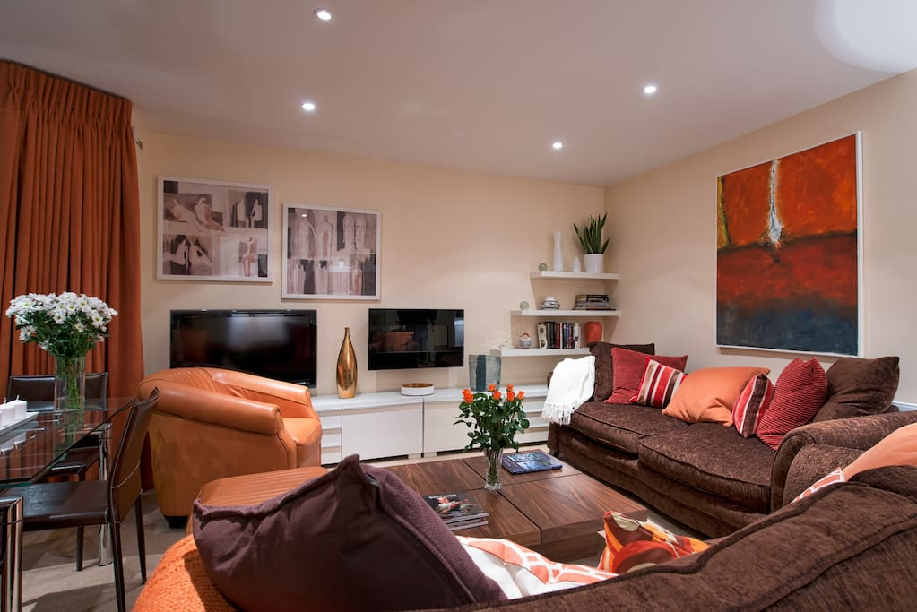 Flat screen TV, gas fire, commissioned artwork