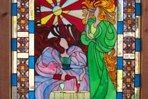 stained glass image on the outside deck