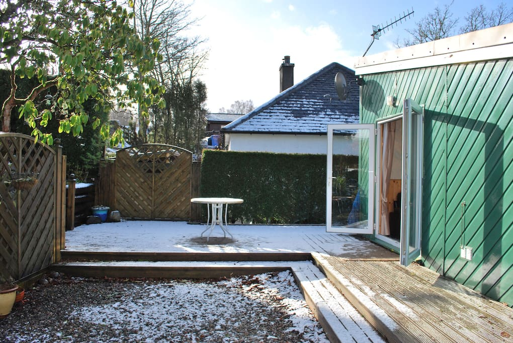 The decking area with a little bit of snow!